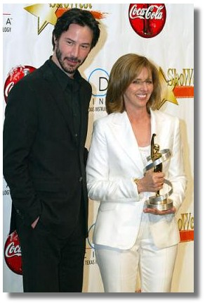 Keanu and Nancy Meyers at ShoWest - Photo from Yahoo News