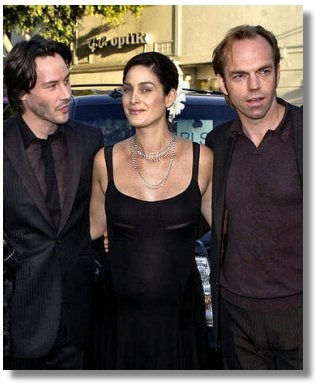 Keanu, Carrie-Ann and Hugo at the premiere